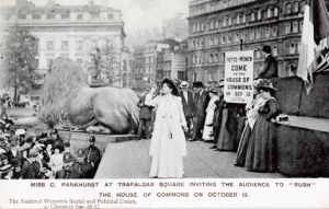 Christabel Pankhurst in Trafalgar Square invite people to rush HC low