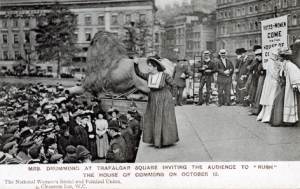 Mrs Drummond in Trafalgar Square invite people to rush HC low