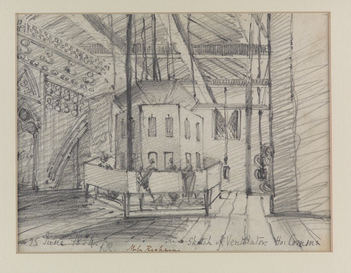 'Sketch of Ventilator, House of Commons' By Frances Rickman, 1834, pencil on paper (WOA 26)