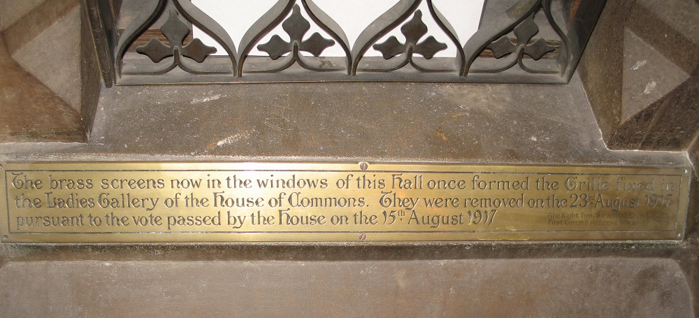 Central Lobby grille plaque. Courtesy of the Parliamentary Estates Directorate