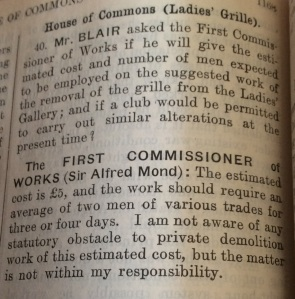 Question on the Grille, Hansard 15 Aug 1917