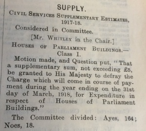 Division on expenditure to remove the Grille, Hansard 15 Aug 1917