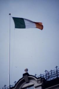 Irish flag flying in Dublin. Photograph © William Alderson 1989