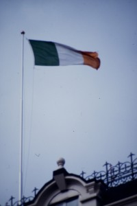 Irish flag flying in Dublin. Photograph © William Alderson 1989