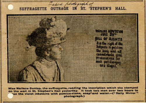 Marion Wallace-Dunlop press cutting. Parliamentary Archives, HC/SA/SJ/10/12/21