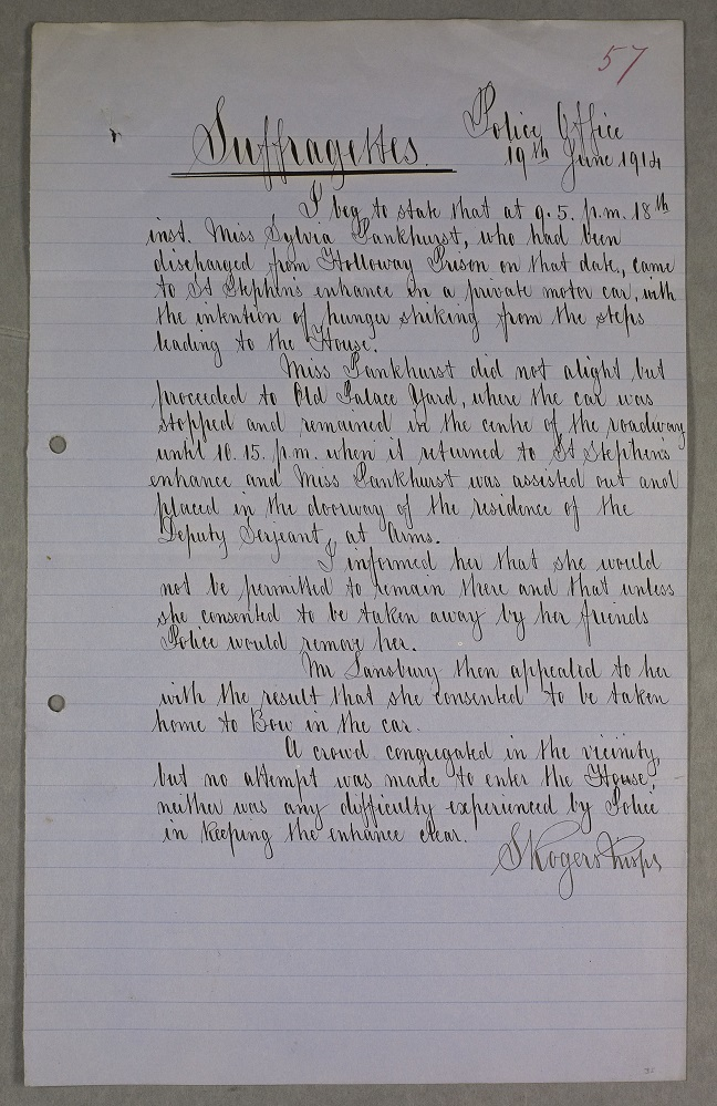 Police report on Sylvia Pankhurst, 19 June 1914. Parliamentary Archives, HC/SA/SJ/10/12/57
