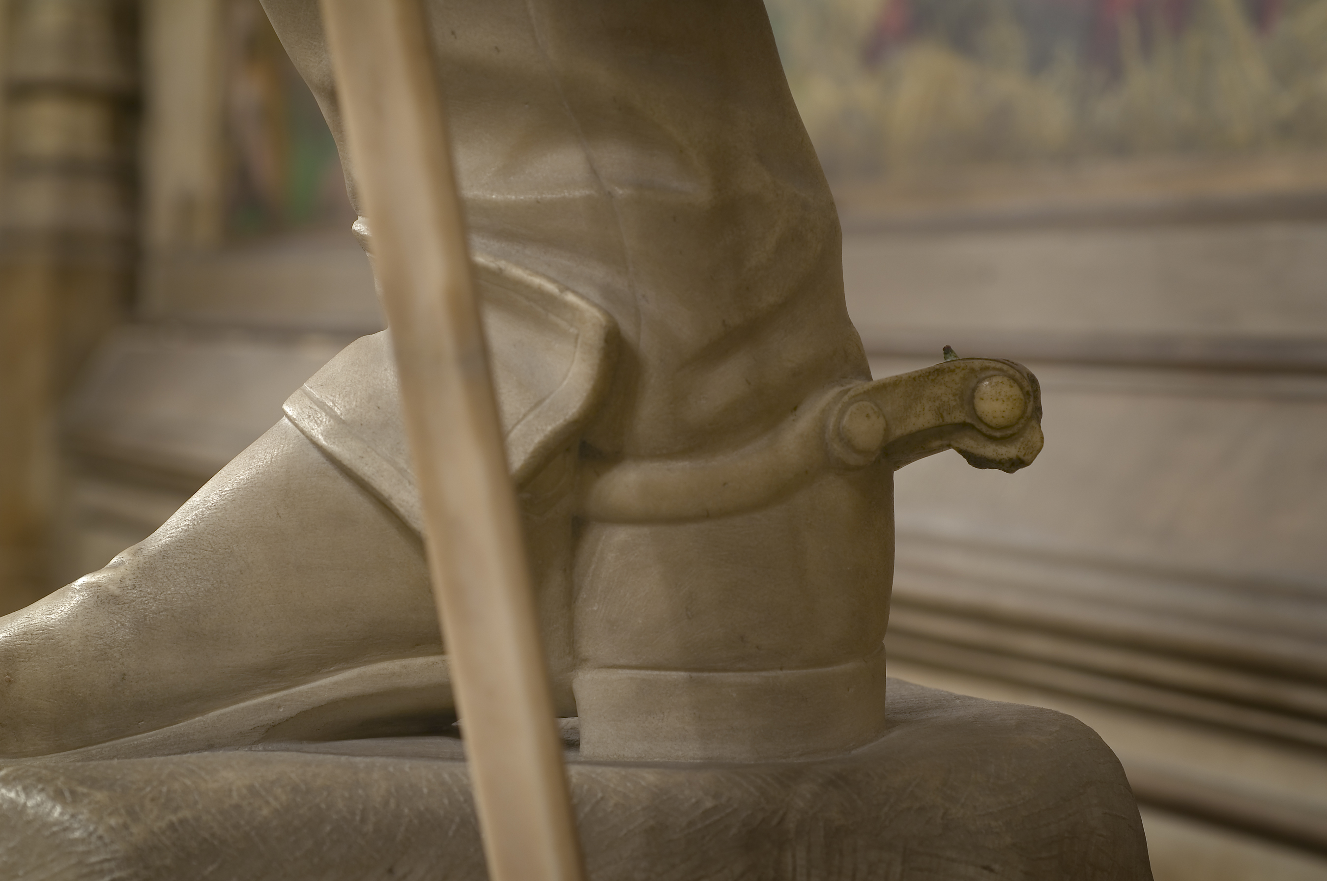 Lucius Cary, 2nd Viscount Falkland (1610-43) by John Bell. Detail showing broken spur. Parliamentary Art Collection, S35.