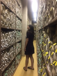 Sally Nicholls in the Original Act Room, Parliamentary Archives