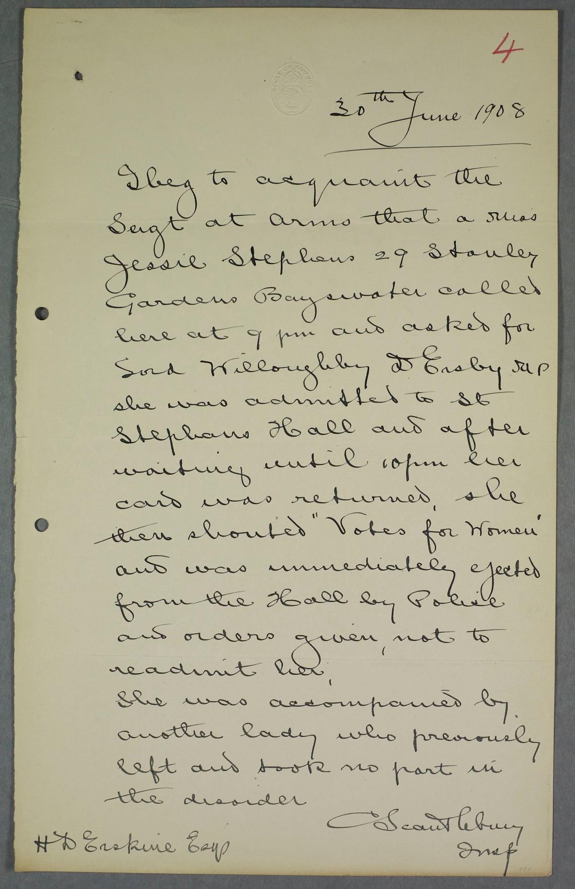 Jessie Stephen police report. Parliamentary Archives, HC/SA/SJ/10/12/4