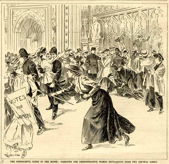 Suffragette demonstration in Central Lobby. The Daily Graphic, 25 October 1906. Parliamentary Art Collection, Reference Collection