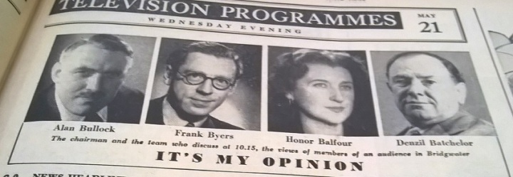 Honor Balfour and fellow panellists on 'It's My Opinion'. Reproduced with kind permission of the Radio Times.