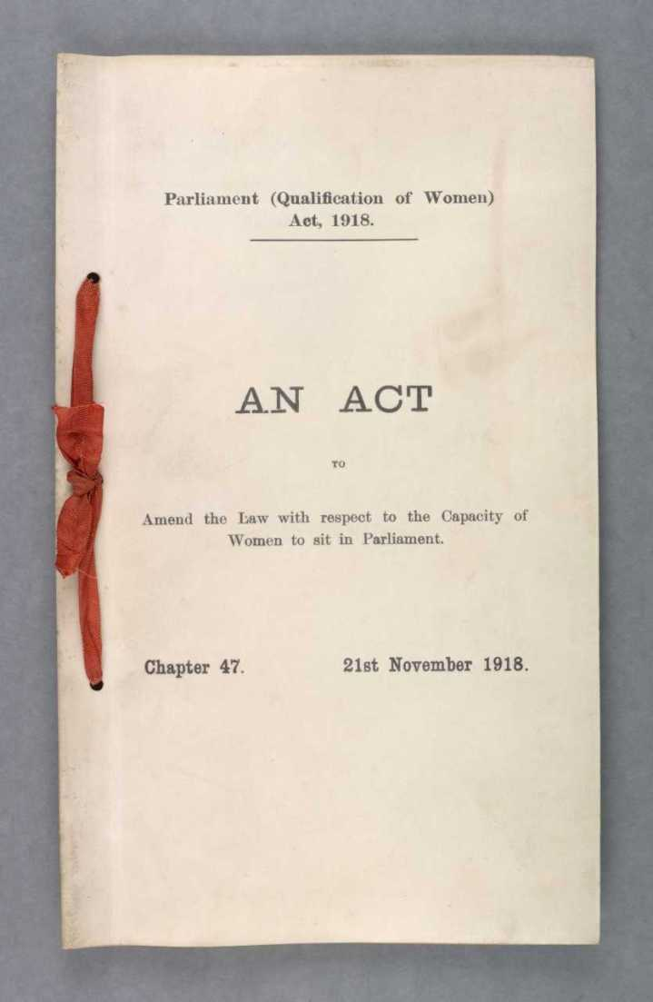 Parliament (Qualification of Women) Act 1918