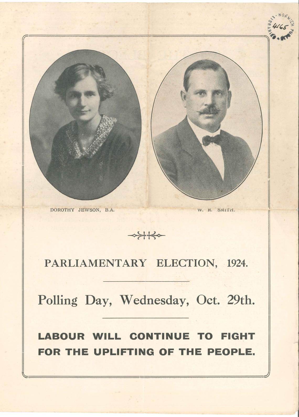 Dorothy Jewson: election address October 1924
