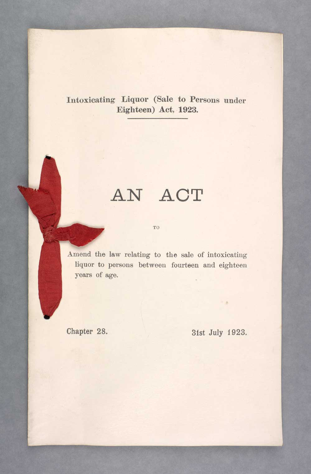 Intoxicating Liquor (Sale to Persons under Eighteen) Act 1923
