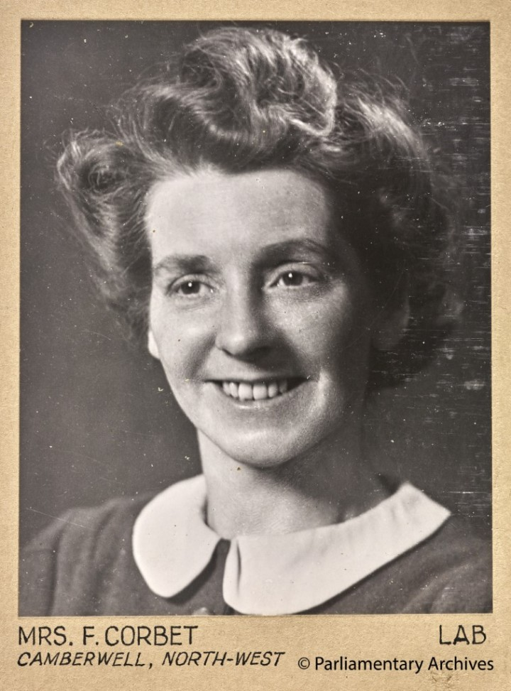 Mrs F Corbet, Camberwell, North-West. July 1945. © Parliamentary Archives, PHO/9/1/16/4