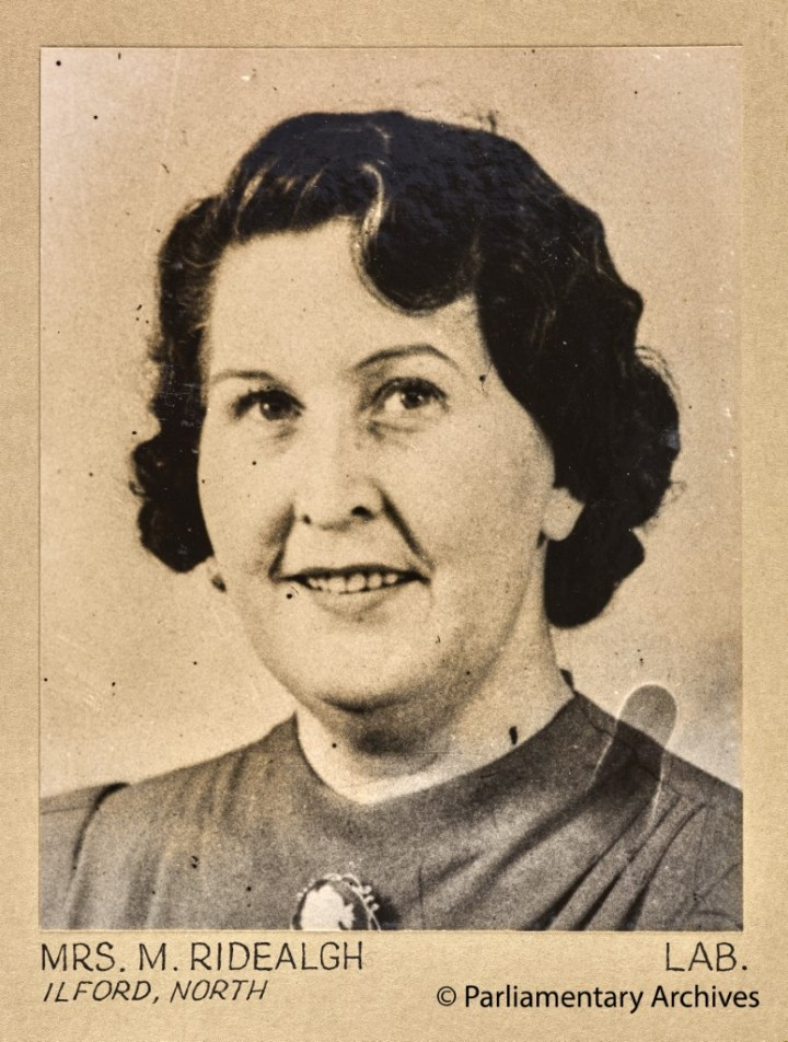 Mrs M Ridealgh, Ilford, North. July 1945. © Parliamentary Archives, PHO/9/1/65/2