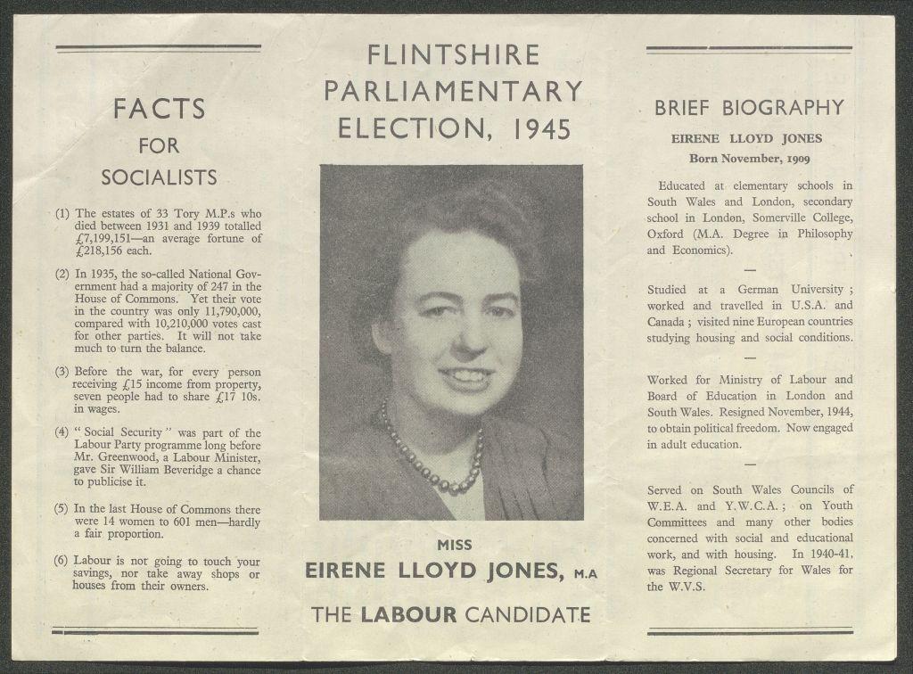 Eirene Lloyd Jones election leaflet 1945