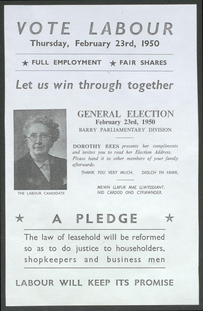 Dorothy Rees election leaflet 1950